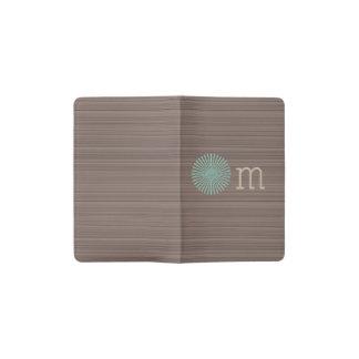Om turquoise wood grain brown stripes pocket moleskine notebook