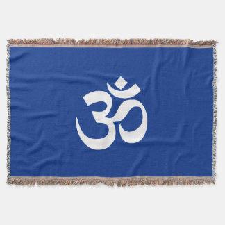 OM Yoga Meditation Blue Blanket
