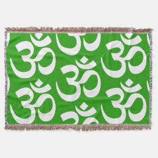 OM Yoga Meditation Green Blanket