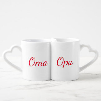 Oma And Opa Grandparents Red Coffee Mug Set