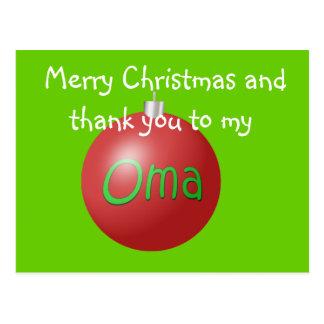 Oma Christmas ornament postcard