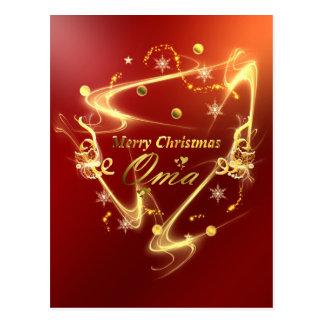 oma golden christmas text postcard