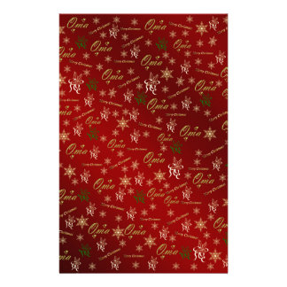 oma golden christmas text stationery
