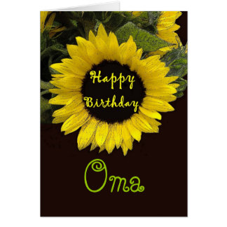 OMA Happy Birthday with Cheerful Sunflower Greeting Card