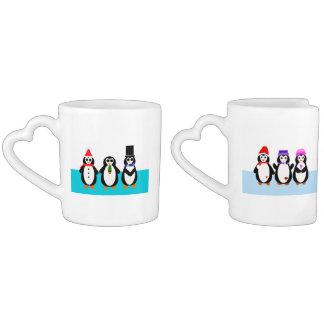 Oma & Opa Penguins with German Hearts Coffee Mug Set