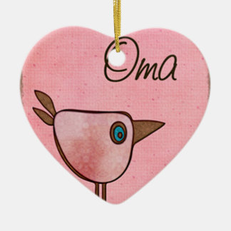 oma pink whimsical bird ceramic ornament