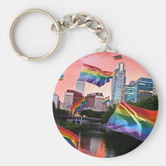 Omaha, NE Flying Pride Basic Round Button Key Ring