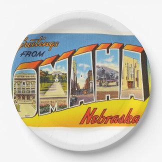 Omaha Nebraska NE Old Vintage Travel Souvenir 9 Inch Paper Plate