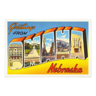 Omaha Nebraska NE Old Vintage Travel Souvenir Photo Art