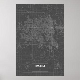 Omaha, Nebraska (white on black) Poster