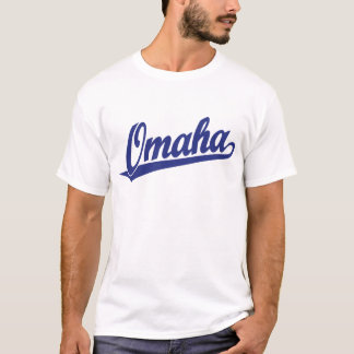 Omaha script logo in blue T-Shirt