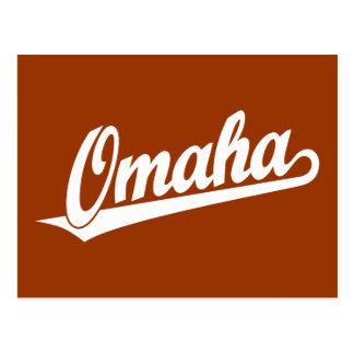 Omaha script logo in white postcard