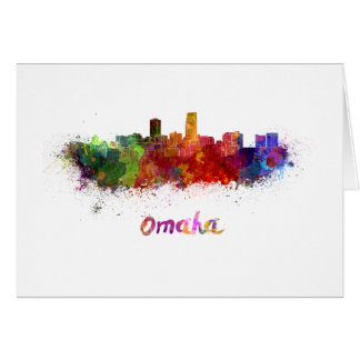 Omaha skyline in watercolor card