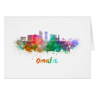 Omaha V2 skyline in watercolor Card
