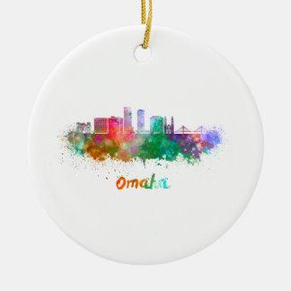 Omaha V2 skyline in watercolor Ceramic Ornament
