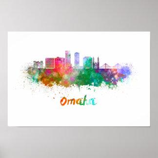 Omaha V2 skyline in watercolor Poster