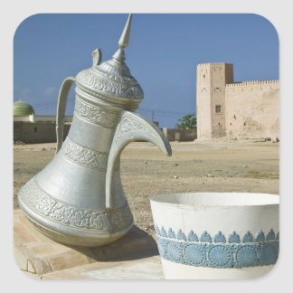 Oman, Dhofar Region, Mirbat. Large Water Carafe Square Sticker