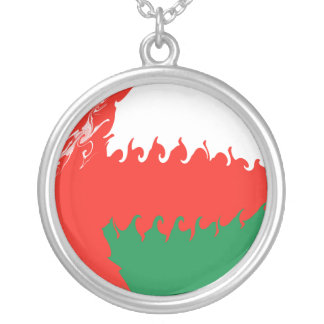 Oman Gnarly Flag Round Pendant Necklace