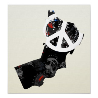 Oman Trendy Peace Sign with Omani map Poster