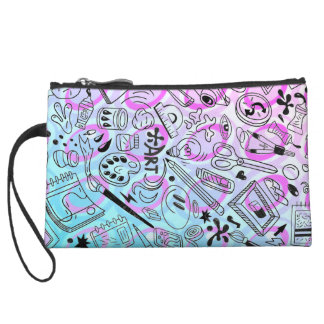 ombre abstract arts and crafts mini clutch