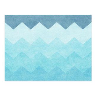 Ombre,aquamarine,girly,chevron,zig zag,pattern,fun postcard