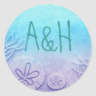 Ombre Beach Wedding Classic Round Sticker