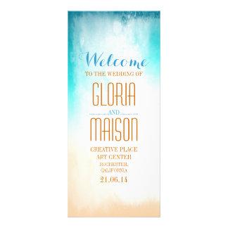 ombre blue beach wedding programs customized rack card