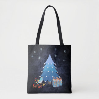 Ombre Blue Christmas Tree with Gifts Tote Bag