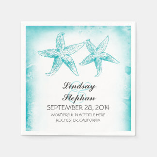 Ombre blue starfish couple beach paper napkins