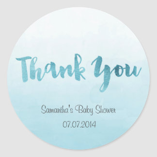Ombre Blue Watercolor Baby Shower Sticker