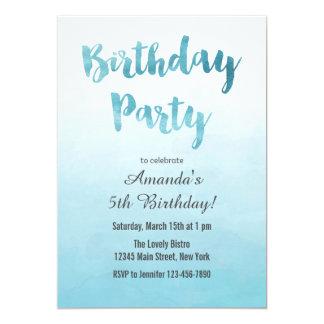 Ombre Blue Watercolor Birthday Invitation
