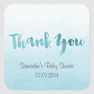 Ombre Blue Watercolor Thank You Stickers