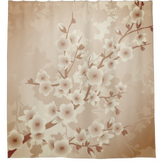 Ombre Cherry Blossoms  Classic Floral Shower Curtain