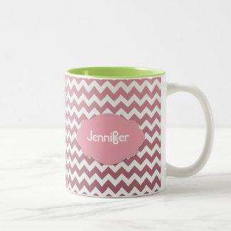 Ombre Chevron - Add a name - Pick a Color - Two-Tone Coffee Mug