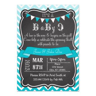Ombre Chevron Chalkboard BabyQ 13 Cm X 18 Cm Invitation Card