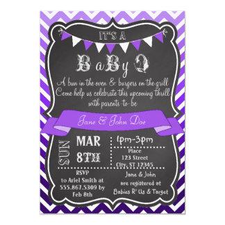 Ombre Chevron Chalkboard BabyQ Purple 13 Cm X 18 Cm Invitation Card