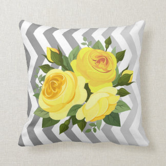 Ombre Chevron Floral Rose Bouquet | yellow silver Cushion