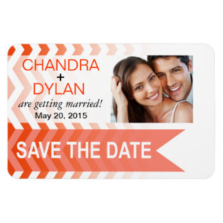 Ombre Chevron Style! Save the Date coral Rectangle Magnets