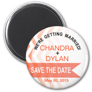 Ombre Chevron Style! Save the Date coral 6 Cm Round Magnet
