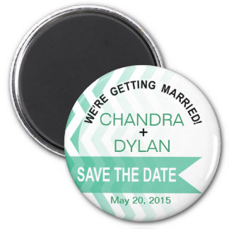 Ombre Chevron Style! Save the Date emerald 6 Cm Round Magnet