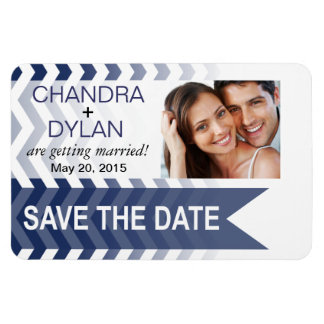 Ombre Chevron Style! Save the Date navy Vinyl Magnets