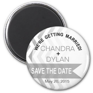 Ombre Chevron Style! Save the Date silver 6 Cm Round Magnet