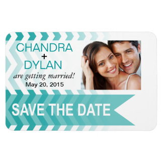 Ombre Chevron Style! Save the Date teal Rectangular Photo Magnet