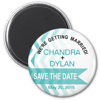 Ombre Chevron Style! Save the Date teal 6 Cm Round Magnet