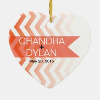 Ombre Chevron Style! Wedding coral Christmas Tree Ornament