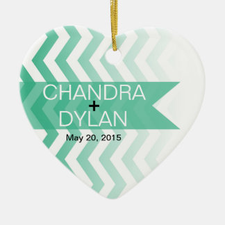 Ombre Chevron Style! Wedding emerald Christmas Tree Ornaments