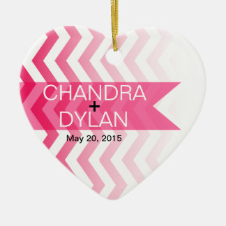 Ombre Chevron Style! Wedding hot pink Ornament