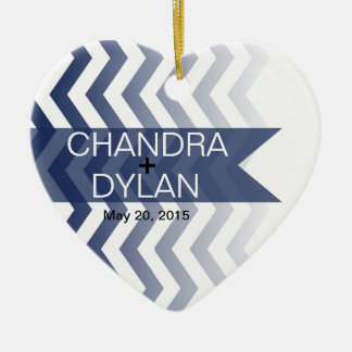 Ombre Chevron Style! Wedding navy Ornament