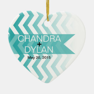 Ombre Chevron Style! Wedding teal Ornament