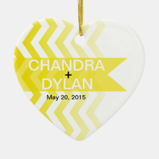 Ombre Chevron Style! Wedding yellow Christmas Tree Ornament